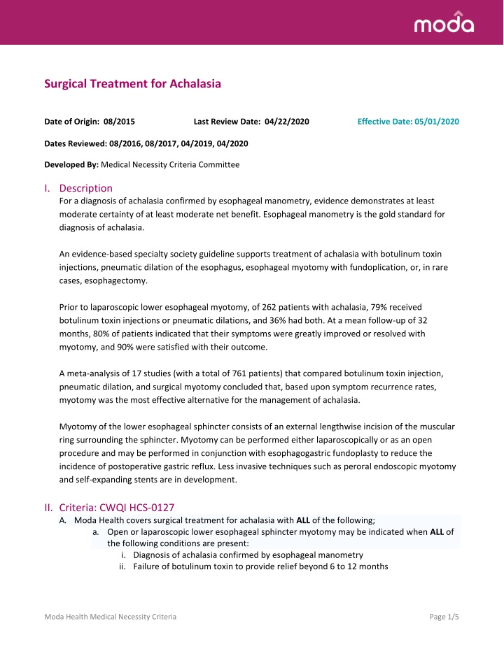 surgical treatment for achalasia date of origin