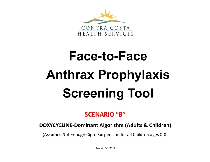 face to face anthrax prophylaxis screening tool