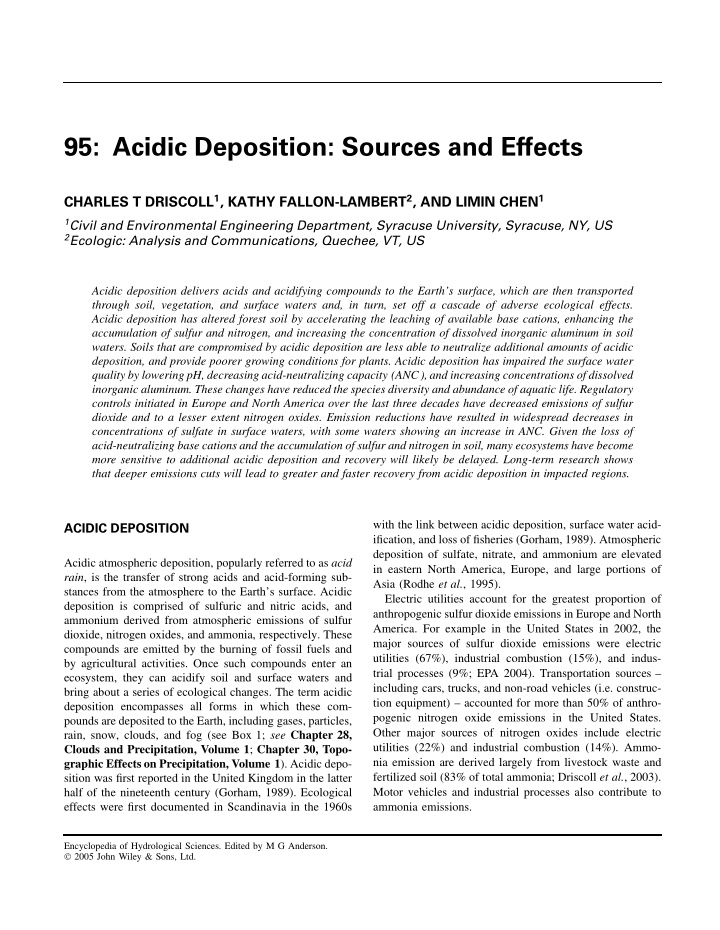 95 acidic deposition sources and effects