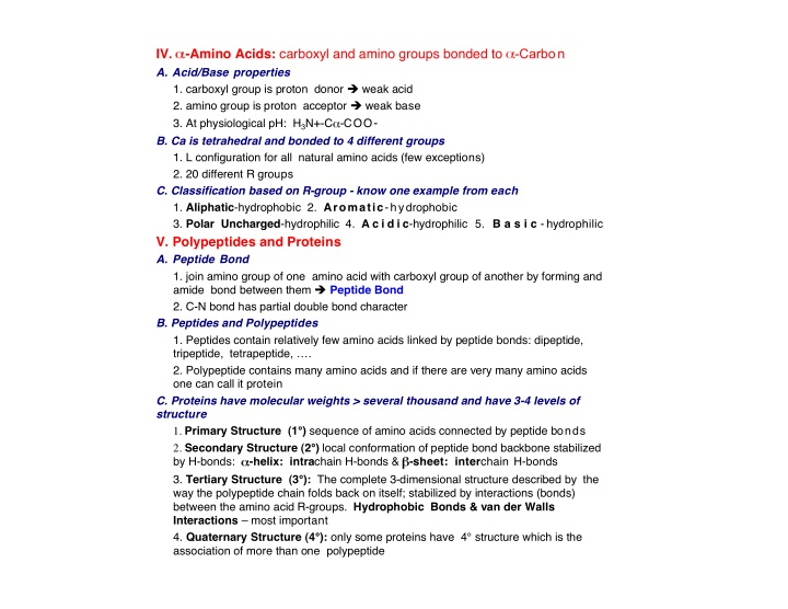 iv amino acids carboxyl and amino groups bonded