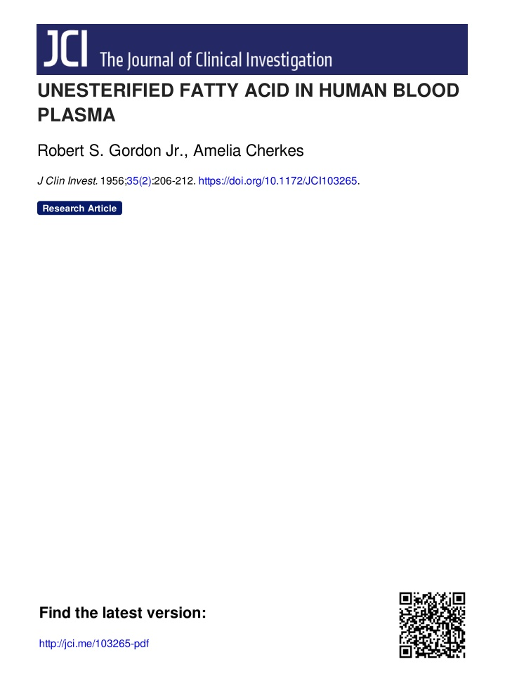 unesterified fatty acid in human blood