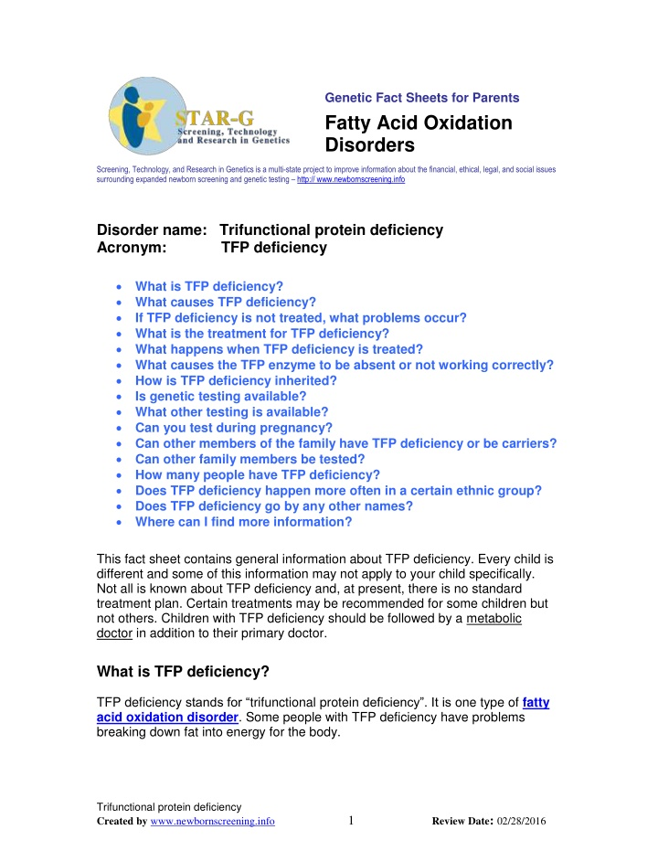 genetic fact sheets for parents fatty acid