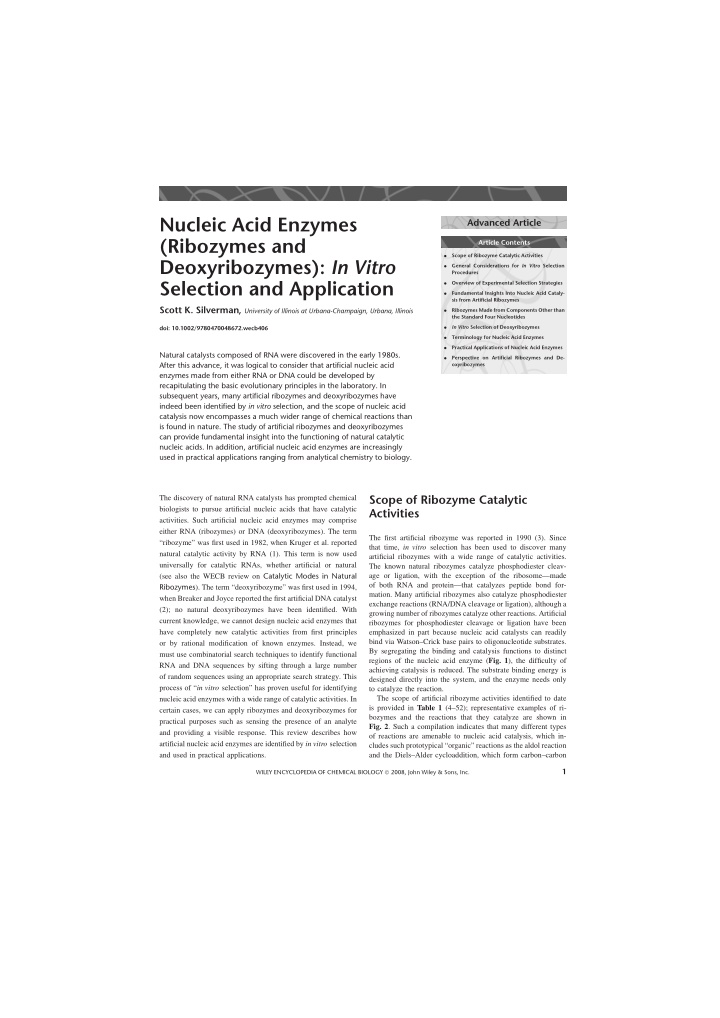 nucleic acid enzymes ribozymes and deoxyribozymes