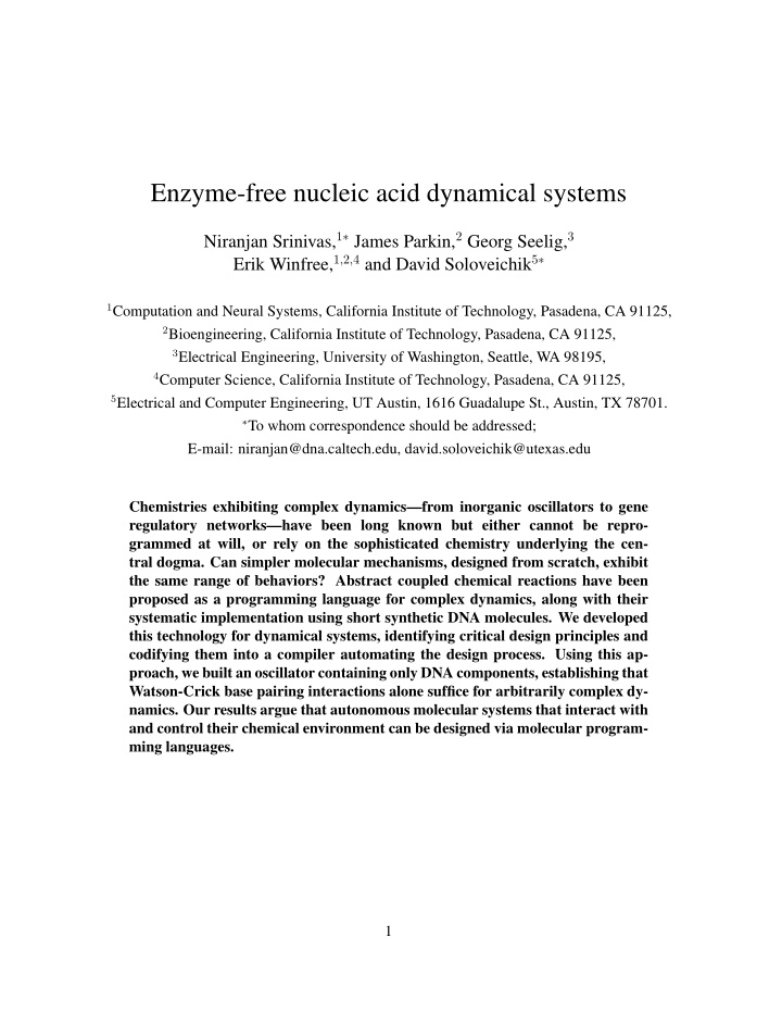 enzyme free nucleic acid dynamical systems