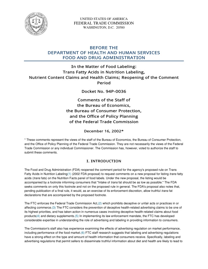 united states of america federal trade commission