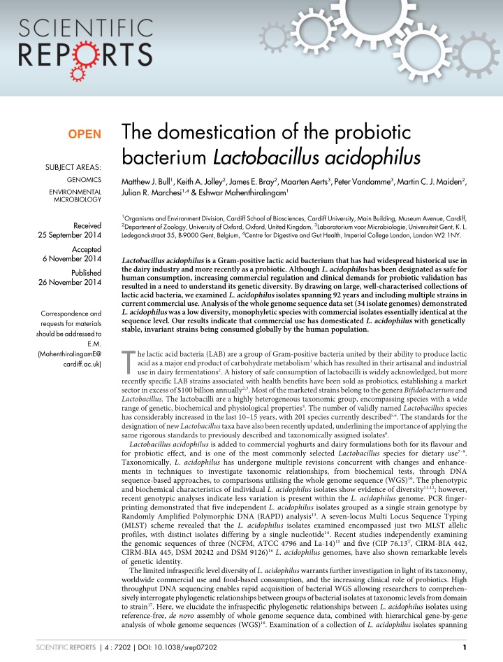 the domestication of the probiotic bacterium