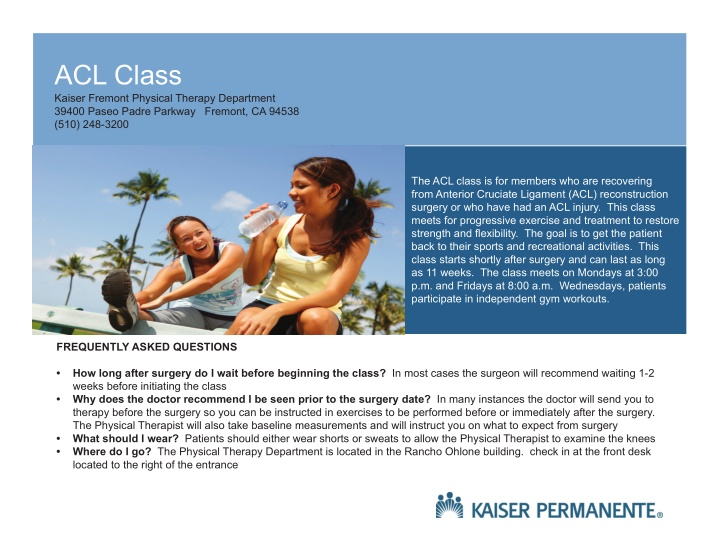 acl class kaiser fremont physical therapy