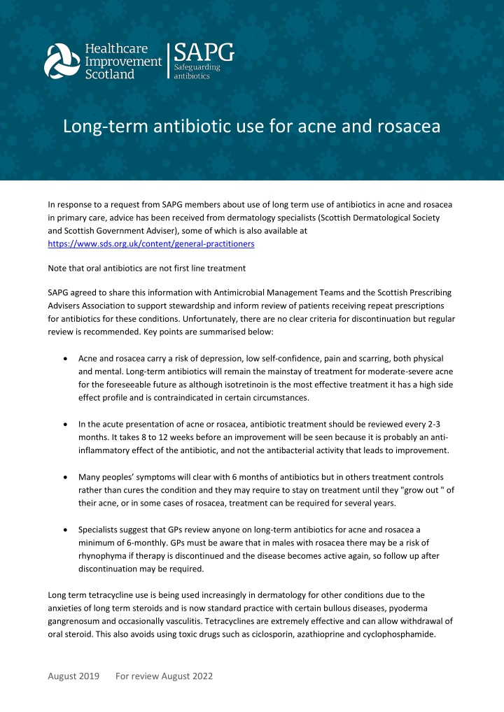 long term antibiotic use for acne and rosacea