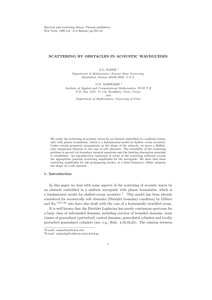 spectral and scattering theory plenum publishers