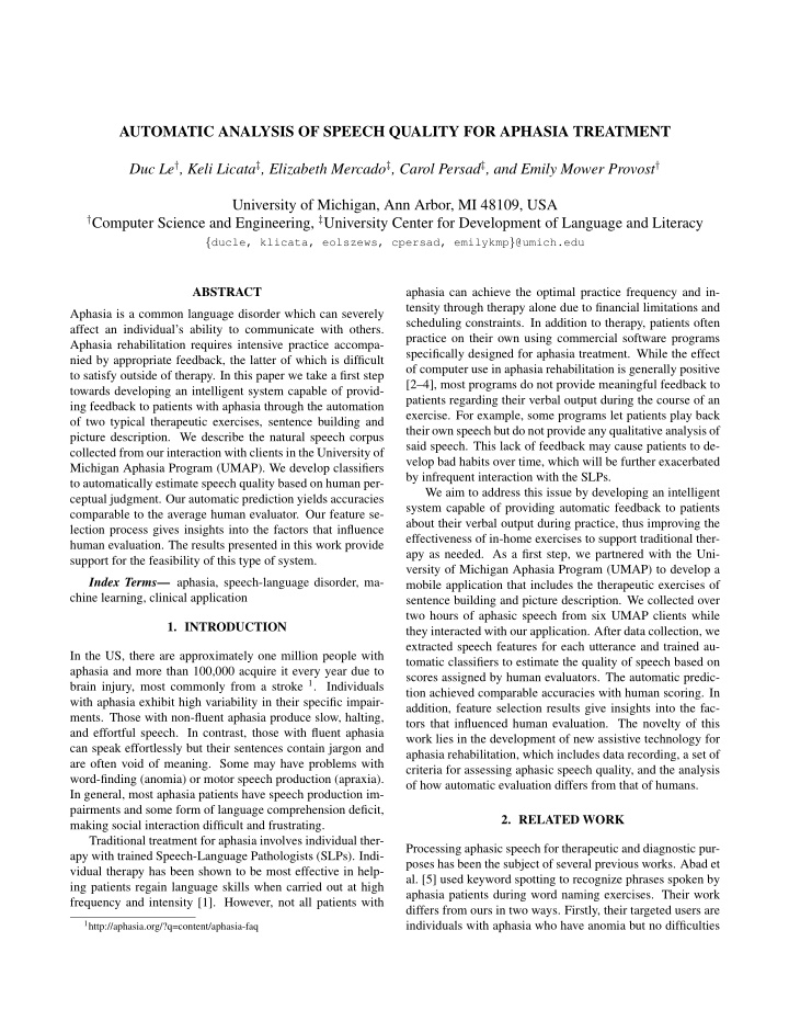 automatic analysis of speech quality for aphasia