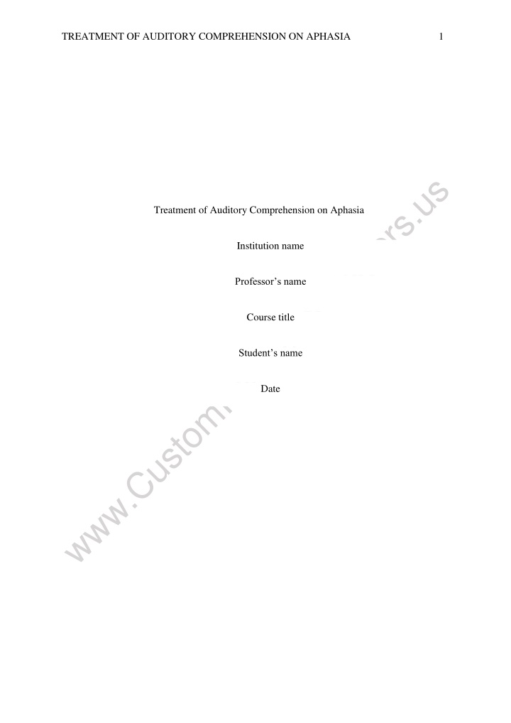treatment of auditory comprehension on aphasia 1