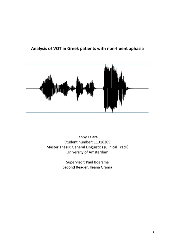 analysis of vot in greek patients with non fluent