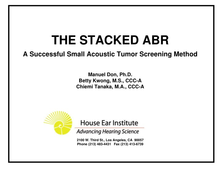 the stacked abr a successful small acoustic tumor