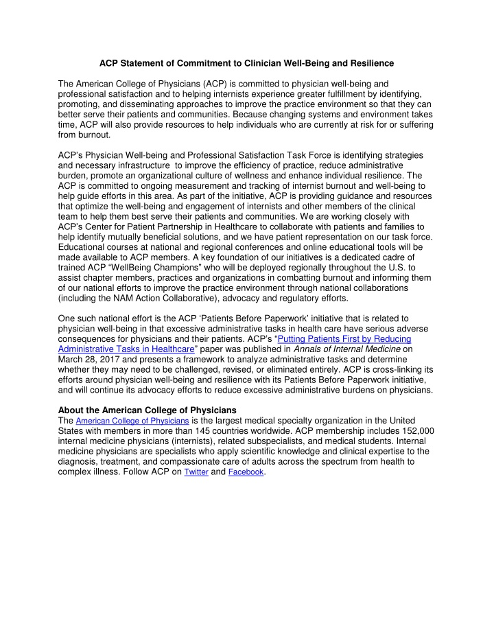 acp statement of commitment to clinician well