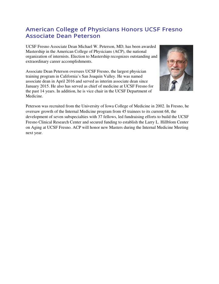 american college of physicians honors ucsf fresno