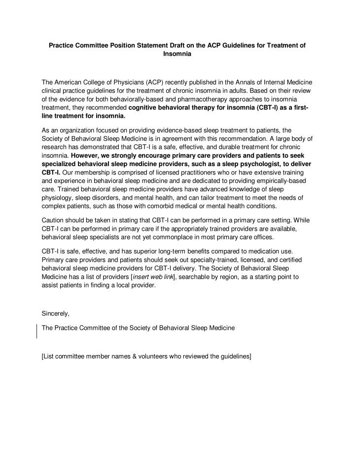 practice committee position statement draft