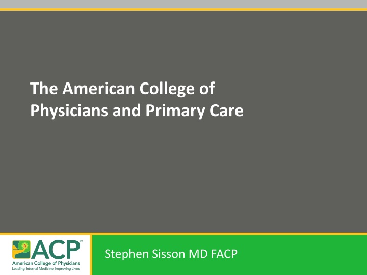 the american college of physicians and primary