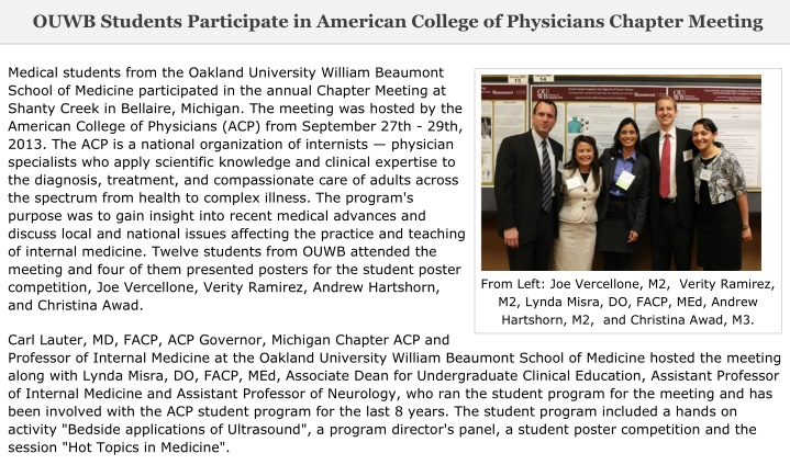 ouwb students participate in american college