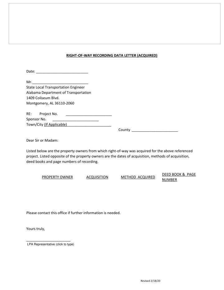 right of way recording data letter acquired