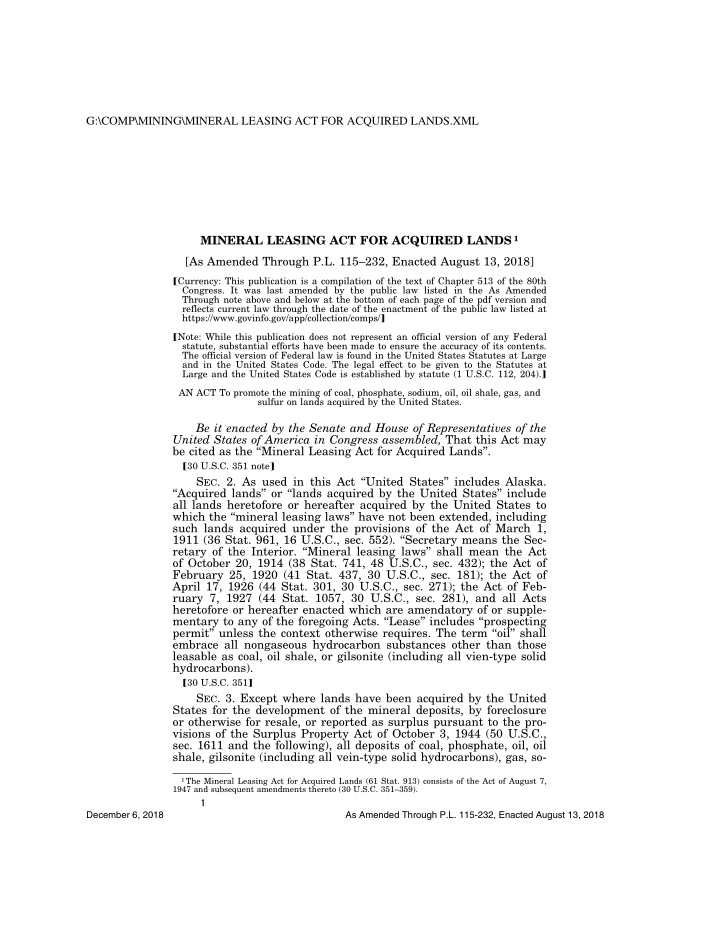 g comp mining mineral leasing act for acquired