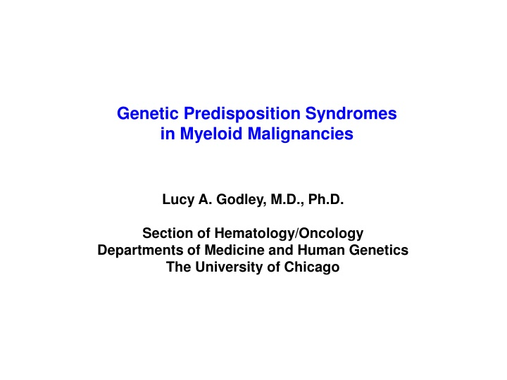 genetic predisposition syndromes in myeloid