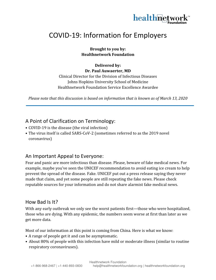 covid 19 information for employers brought