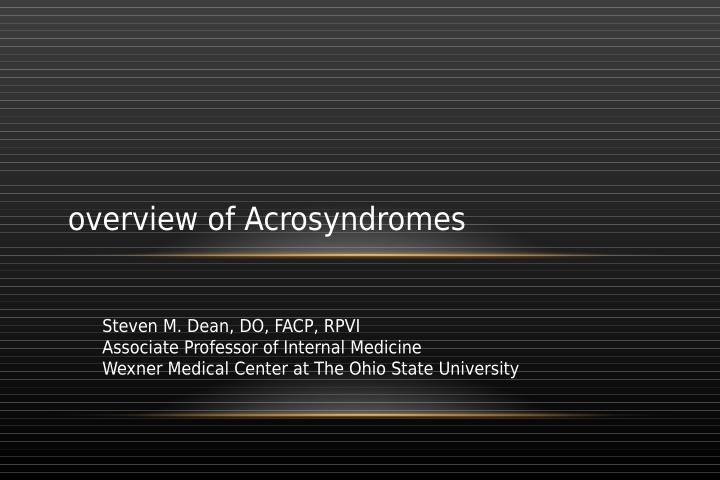overview of acrosyndromes