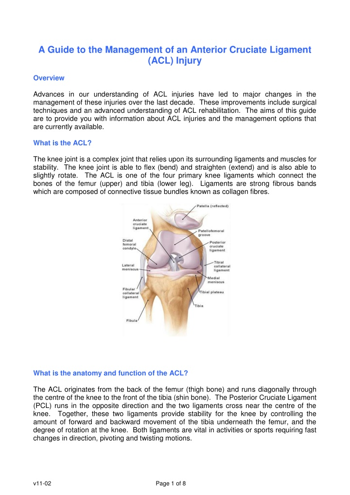 a guide to the management of an anterior cruciate