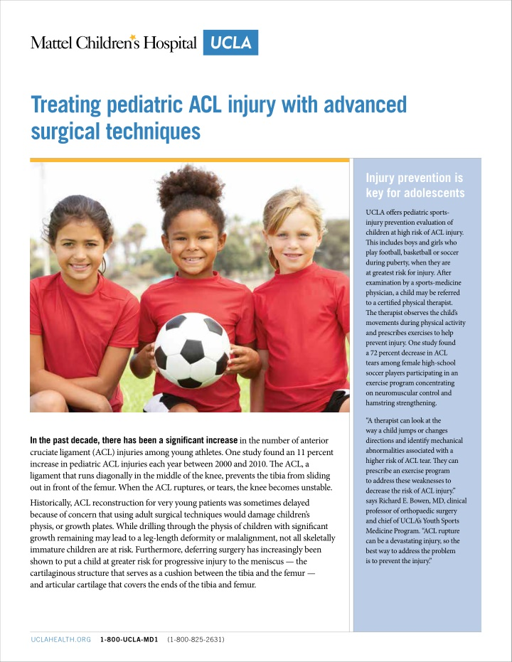 treating pediatric acl injury with advanced