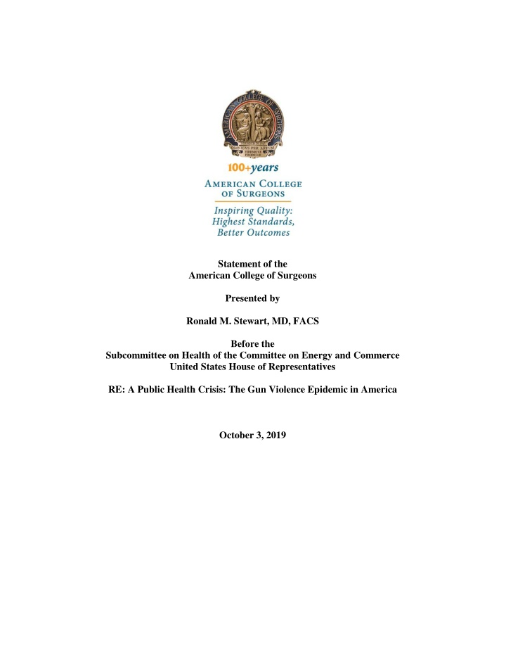 statement of the american college of surgeons