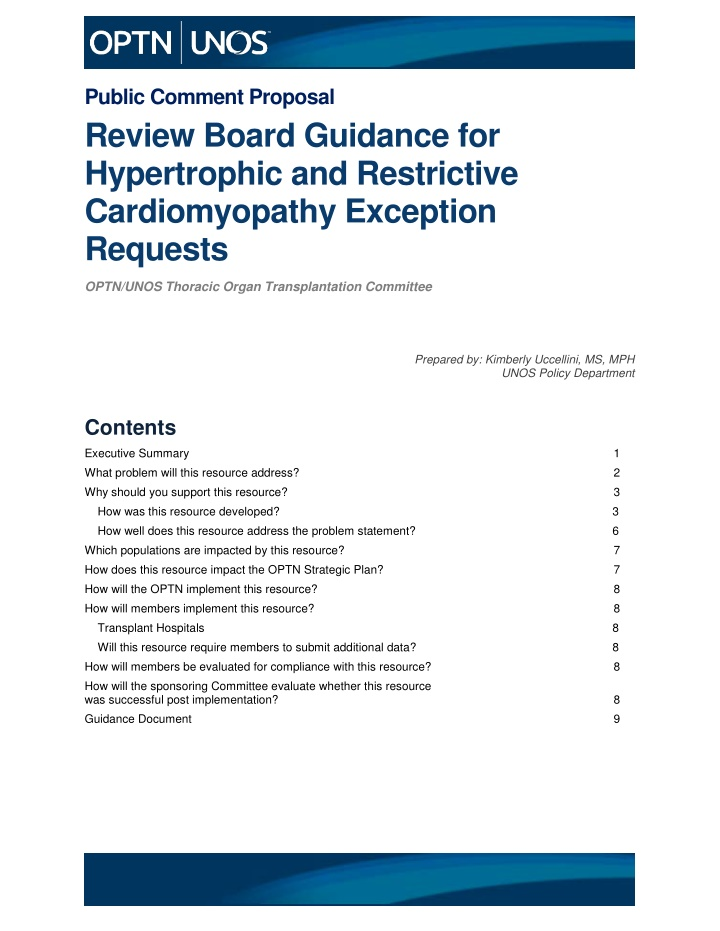 public comment proposal review board guidance