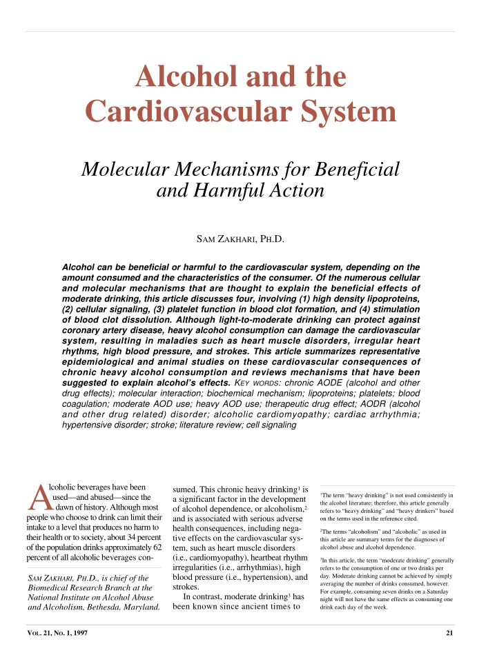 alcohol and the cardiovascular system