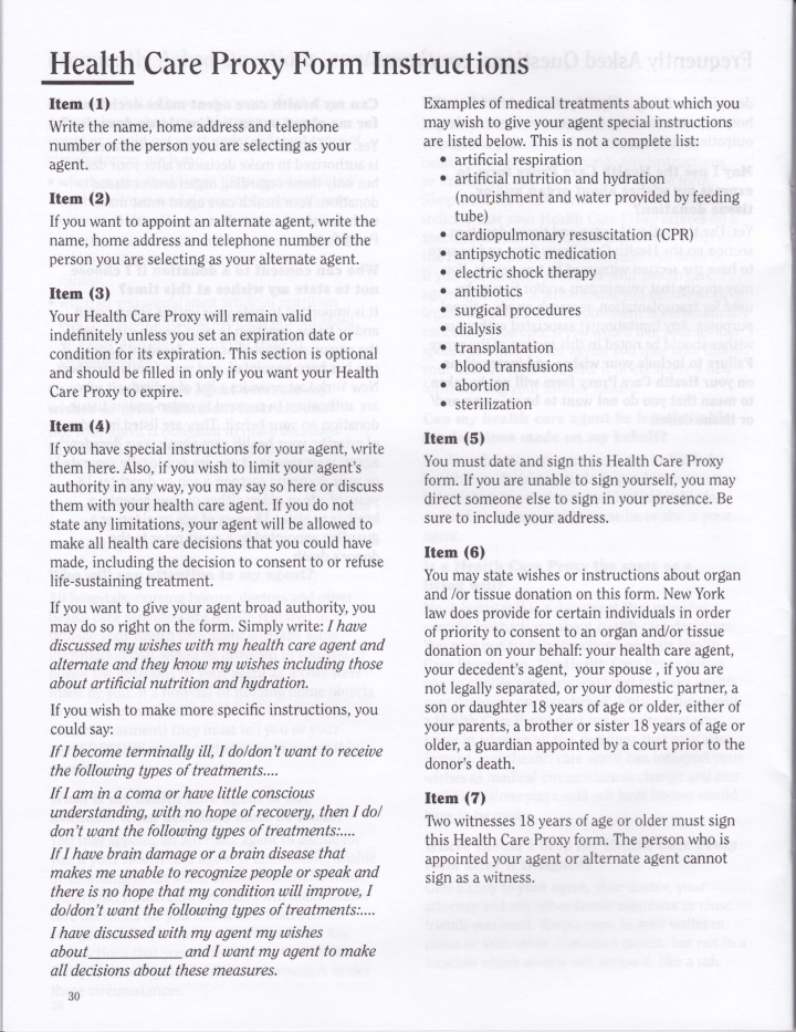health care proxy form instructions