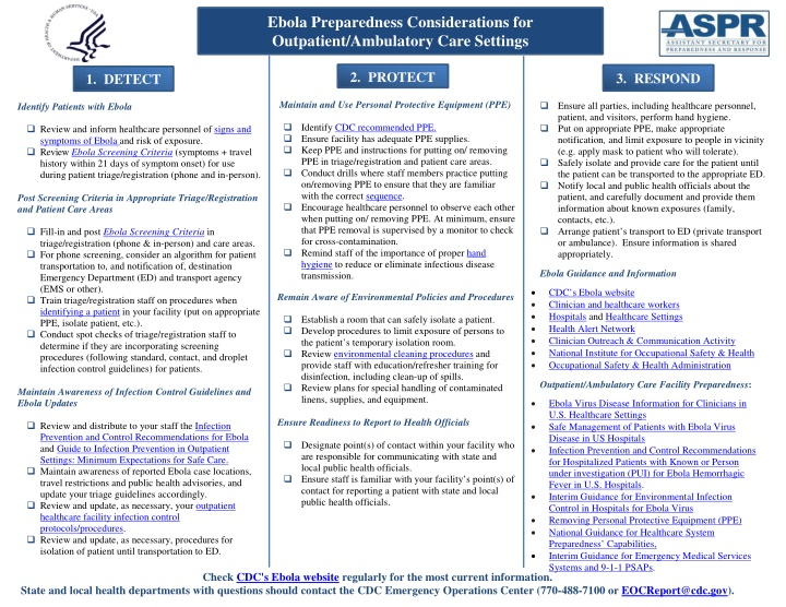 ebo la preparedness considerations for outpatient