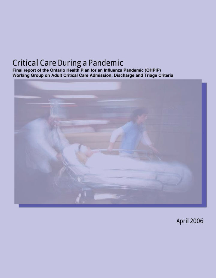 critical care during a pandemic final report