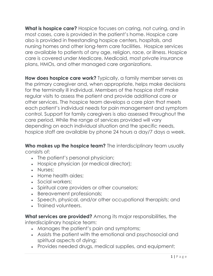 what is hospice care hospice focuses on caring