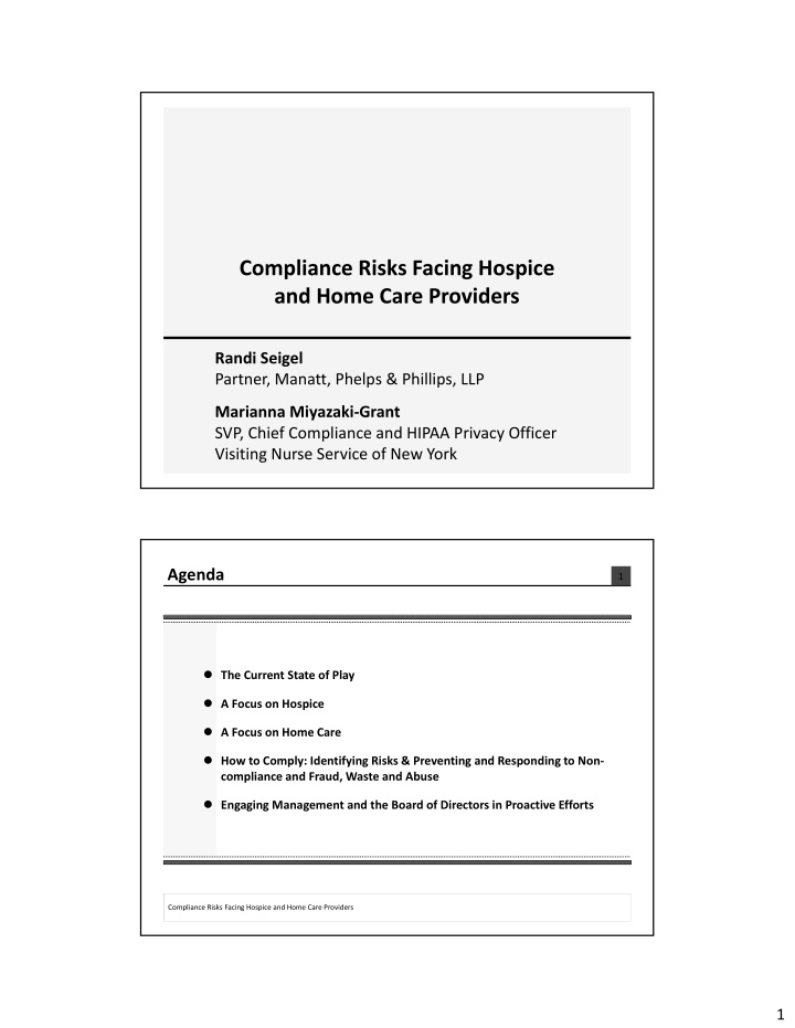 compliance risks facing hospice and home care