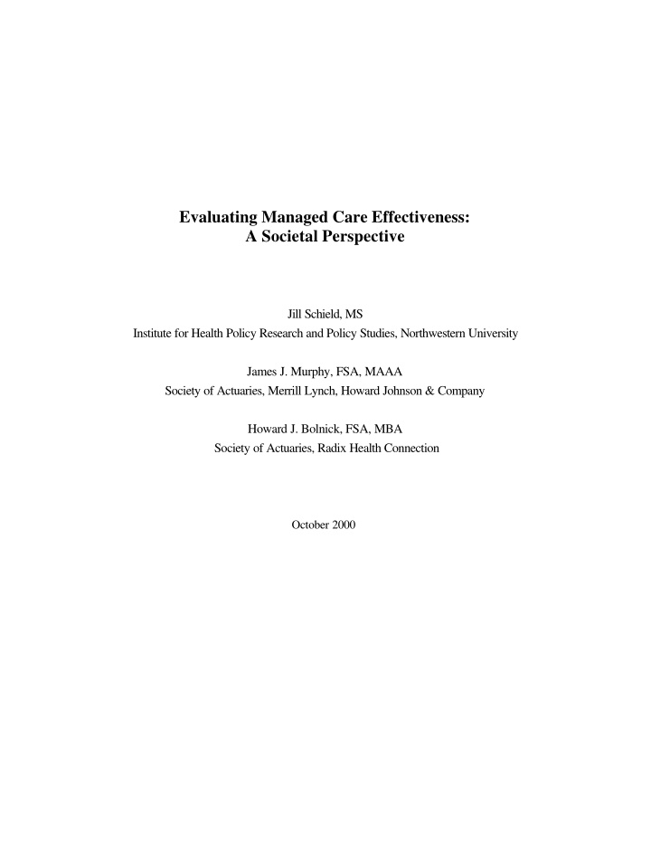 evaluating managed care effectiveness a societal