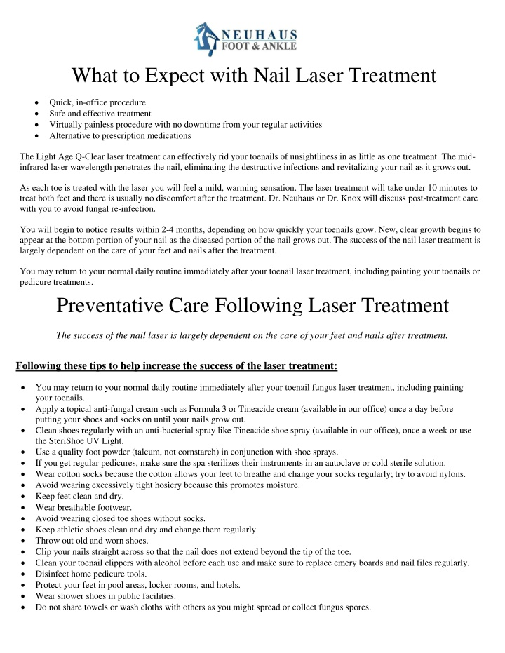 what to expect with nail laser treatment