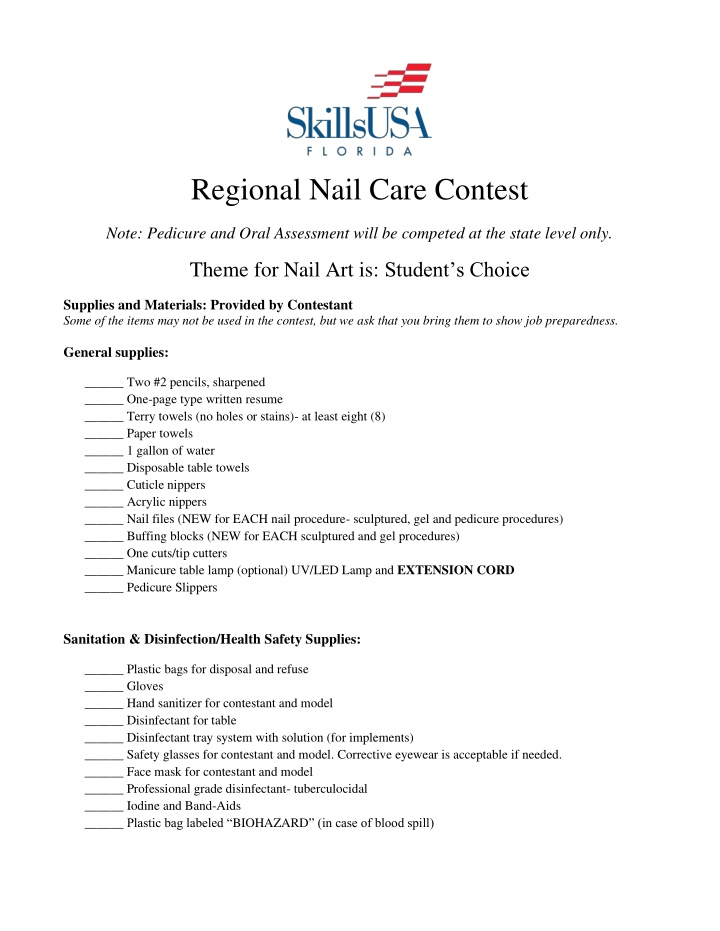regional nail care contest
