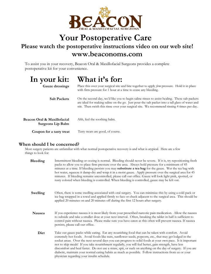 your postoperative care please watch