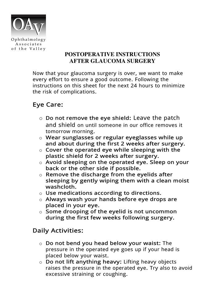 postoperative instructions after glaucoma surgery