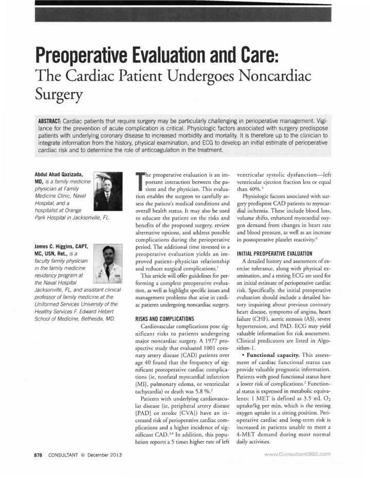 preoperative evaluation and care the cardiac