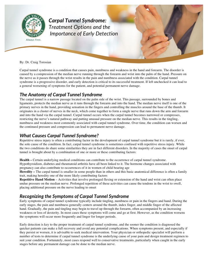 carpal tunnel syndrome treatment options