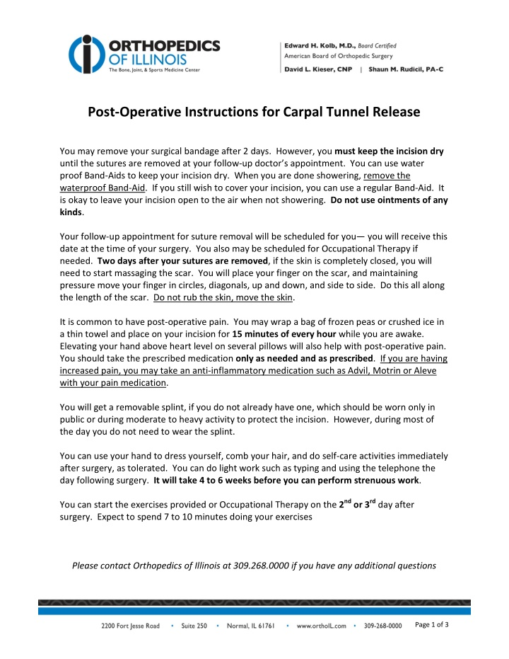post operative instructions for carpal tunnel
