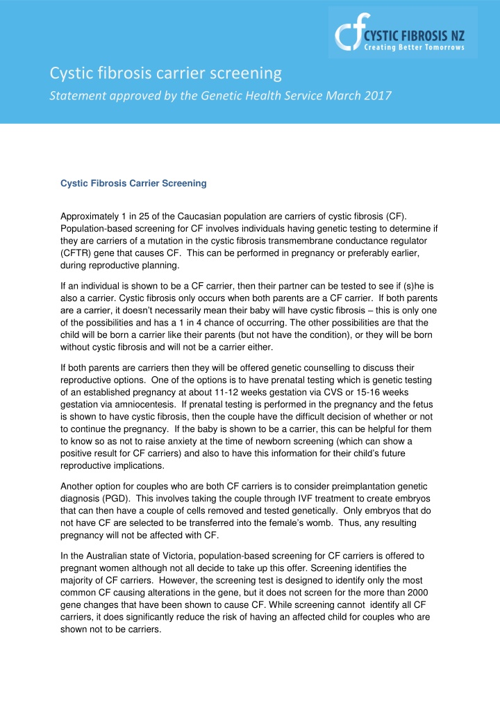 cystic fibrosis carrier screening statement