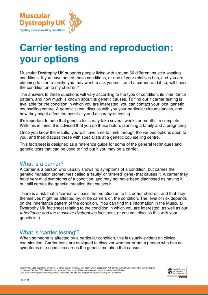 carrier testing and reproduction your options