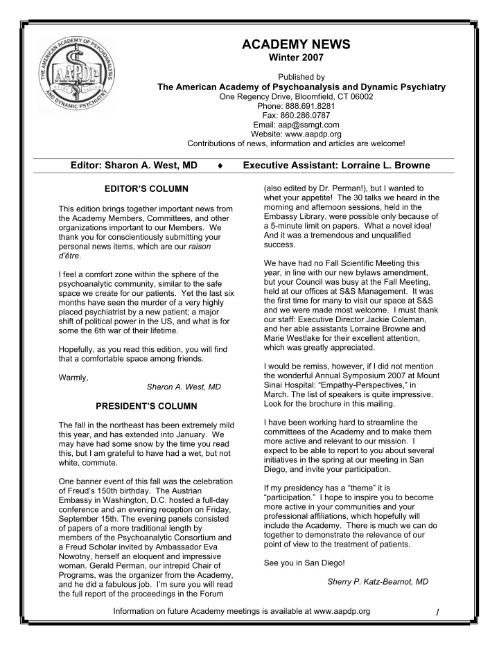 academy news winter 2007 published by