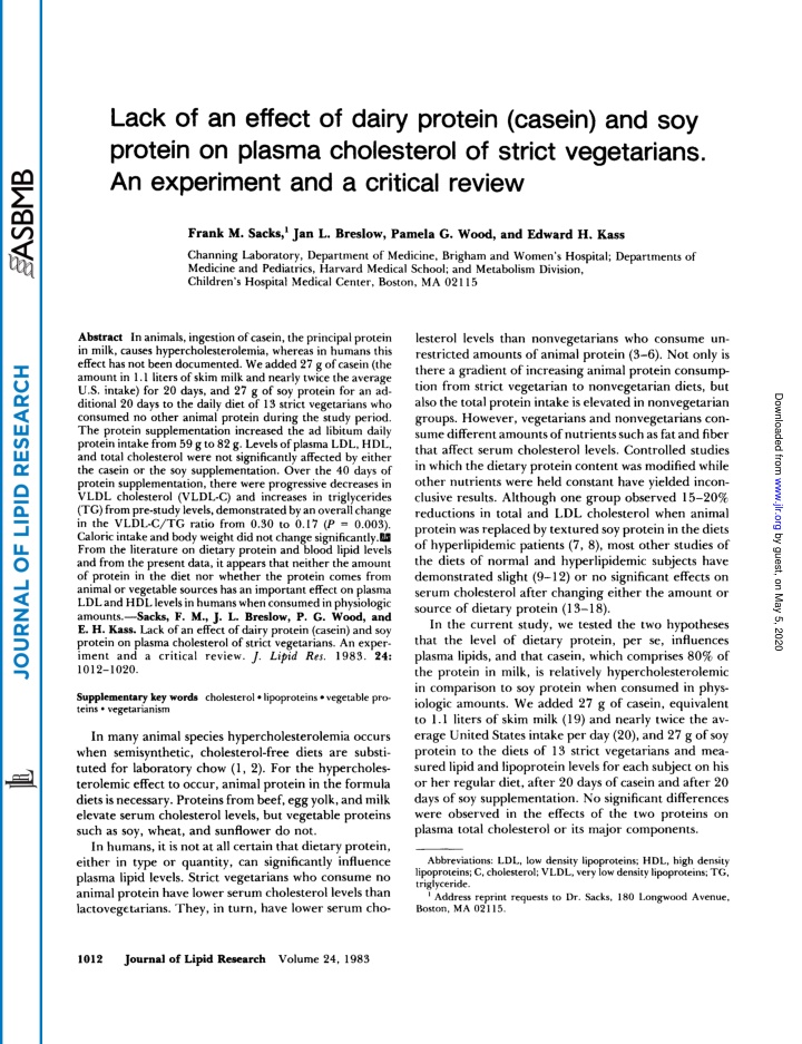 lack of an effect of dairy protein casein