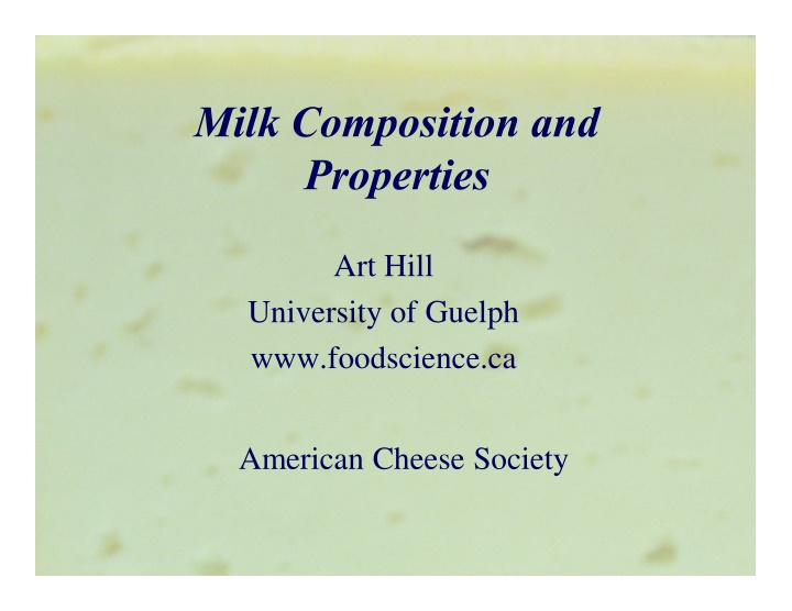 milk composition and properties